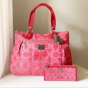 Coach - Poppy Glam Lurex Signature & Wallet Set